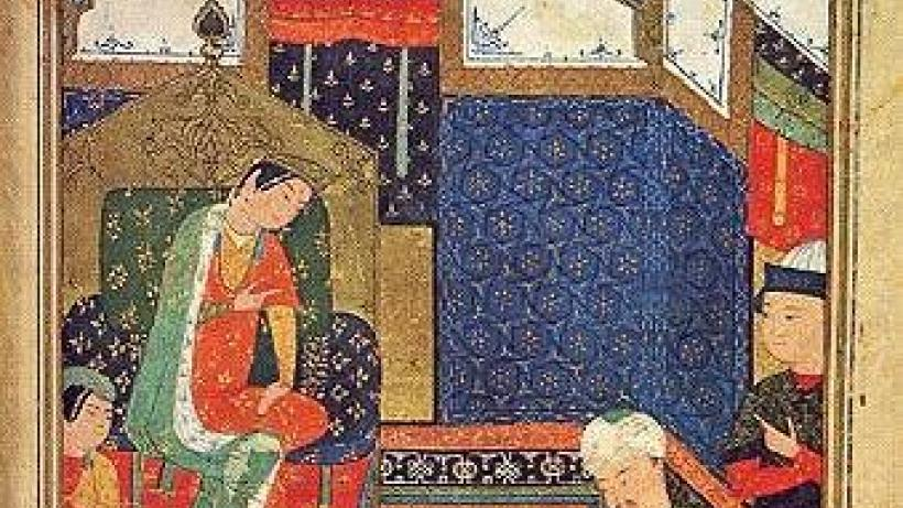 Nūshāba Presents Iskandar with his Portrait. Niẓāmī, Iskandar-nāma (Herat, 15th c.)