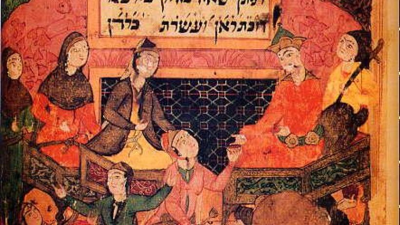 Esther and Ahasuerus. Shāhīn, Ardashīr-nāma.