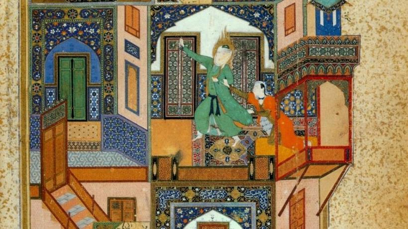 Yūsuf Fleeing from Zulaykhā. Saʿdī, Bustān (Herat, miniature by Bihzād, 1488)